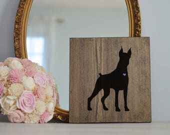 Hand Painted Doberman Silhouette on Stained Wood, Dog Decor, Dog Painting, Gift for Dog People, New Puppy Gift, Housewarming Gift
