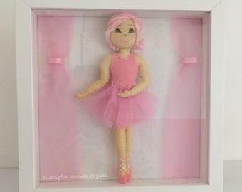Decorative frame with ballerina doll. Eva. Handmade. Dance collection. Ballerina in felt