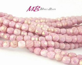 50 4mm Pink Luster Faceted Glass, Czech Fire Polished Stranded Beads