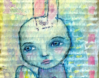 Easter Girl, archival art print, mixed media art painting