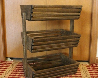 Vegetable Storage, Wooden Basket Large 3 Tiered Jacobean, Storage Basket,  Vegetable Rack,