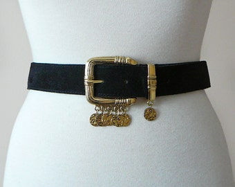 Vintage 80's Black and Gold Suede Leather Wide Belt with Coins  / Bohemian Chic