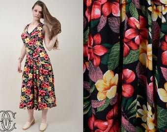 vintage 80s dress vintage 1980s black and floral sun dress vintage criss cross floral sun dress
