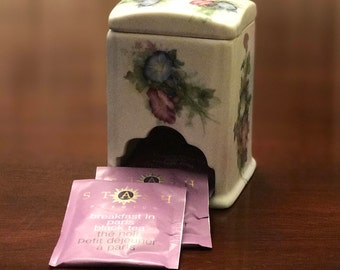 Tea Caddy, Morning Glories on Porcelain Tea holder, Hand decorated by Lois White, Gift for Mom, Mother's Day Gift