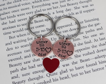 Couples Keychain Set, His and Hers Keychain, Lucky Us Keychain, Wedding Gift, Anniversary Gift, Engagement Gift, Custom Keychain, Love Gift