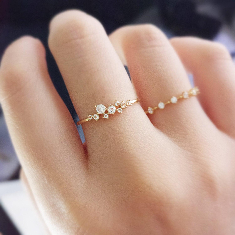 18K gold ringPetite Diamond Zircon Engagement Ring Princess