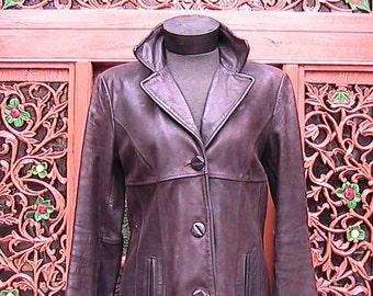 Small Mid-Length Leather Jacket WLJ045