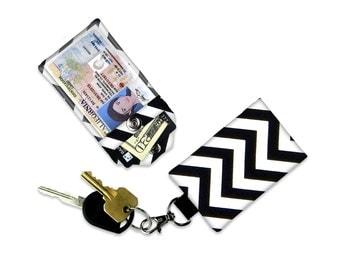 Black Chevron Mini Wallet Card Holder Keychain Clear ID Holder Small Wallet ID Wallet Minimalist Wallet Student ID Badge Credit Card Grey