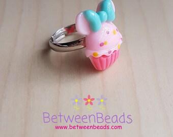 Disney Inspired Ring, Cupcake Ring, Adjustable Ring, Bow Pastel Pink Stud Earrings, Food Cake Ring, Little Girl Ring, Pink Pastel Colors