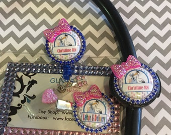 Labor and Delivery nurse badge reel, stethoscope id name tag, barrette matching set,L&D rhinestone bling bow badges protector gift set RN