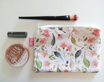 Watercolor Floral Zipper Pouch - Travel wallet, Pencil case, Purse organizer, Makeup pouch or Mini Clutch