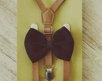 Boys Leather Suspenders, Baby Leather Suspenders and Bow Tie, First Birthday, Ring Bearer