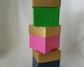 Mini gold hearts trinket boxes, pink, green and navy boxes