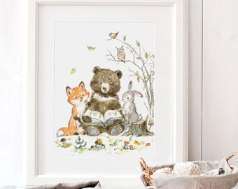 Reading Animals Print, Giclee, Woodland Nursery Art, Bear Nursery Art, Woodland Animals Reading, Forest nursery art, Fox, Bunny, Bear