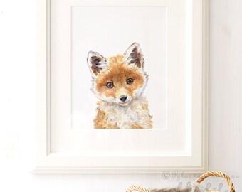 Fox Nursery Print, Fox Portrait, Giclee, Woodland Animal Portrait , Fox animal Print, Fox Nursery Art, Fox Watercolor, Nursery Wall Art