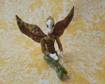 Fairy handmade faerie OOAK cloth batik green gold doll