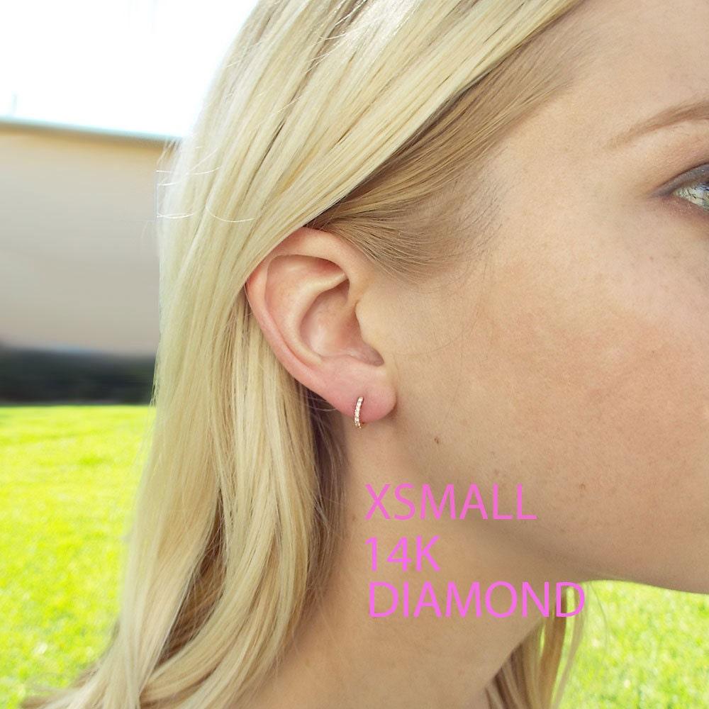 Diamond huggies XS tiny hoops to hug your ear lobe Diamond Earrings Huggies Tiny 14k Gold Hoops Dainty Huggie Earrings