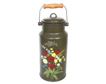Enamel Milk Can, Floral Hand Painted Enamel Milk Can. Dutch Folk art, Enamel Ware, Milk Churn, Milk Jug, Can, Vase. #64AG2BCK15