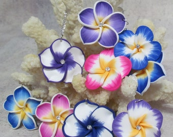 Plumeria Necklace and Earring Set Tropical Hawaiian Plumeria Flower Jewelry Set. Comes with a left or right hand friendly clasp.