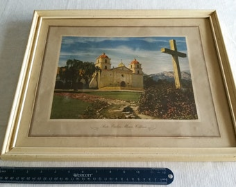 antique framed litho art print 1950's santa barbara california franciscans mission seminary church - wall hanging monastery picture photo
