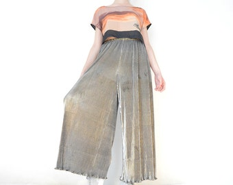 Gold Shiny Vintage Palazzo Pants Made in France