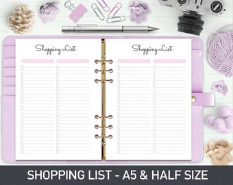 A5 Shopping Planner, Shopping List, Printable Shopping List, Shopping Plan, Shopping Tracker, Shopping Checklist, Printable planner inserts