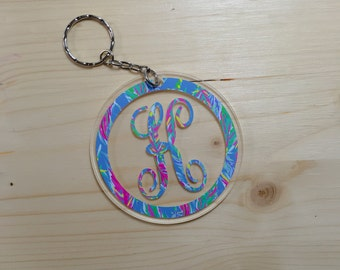 Monogrammed Circle Keychain, Personalized Acrylic Keychains, Lilly Inspired Keychain, Patterned Keychain, Initial Keychain