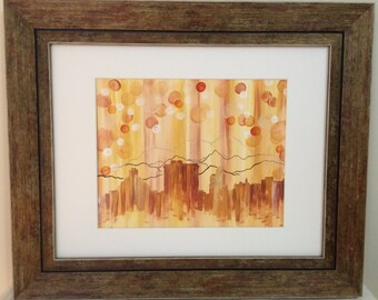 Downtown Asheville Skyline Abstract Painting 8x10 // 11x14 Frame // WNC // Bokeh background // Golden City // North Carolina // Mountains