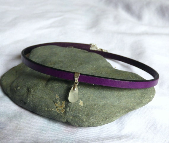 Purple Leather Choker, Purple Seaglass Collar, Purple Leather Collar, Purple Sea Glass Choker, BDSM Collar, Leather Jewelry - KF17003