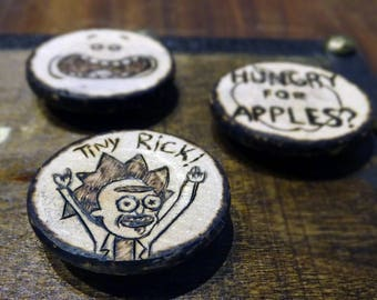 Rick and Morty pyrography art wood magnets