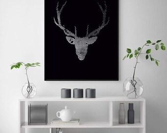 Deer Print, Deer Wall Art, Deer Poster, Scandinavian Print, Scandinavian Wall Art, Geometric Deer Print, Geometric Art, Stag Head, Antlers