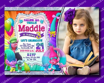 Glitter Trolls Invitation with a Photo-Trolls Birthday Party-Trolls Invite-Trolls Party Supplies-Poppy-Cooper-Branch-Chenille-Silver Glitter