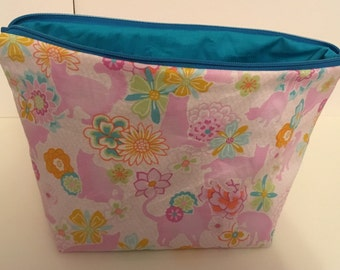 Zippered cats knitting project bag
