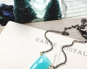 S k y e...Aqua chalcedony, shield gemstone, tooth, Energy, Boho, sacral chakra, gold, minimalist, gunmetal necklace FREE SHIPPING