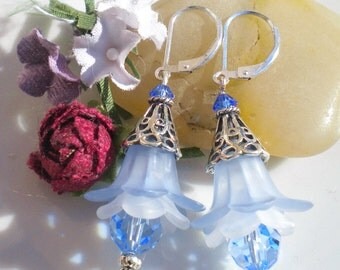 Blue Lucite Tulip Romantic Earrings w Blue Topaz Swarovski Crystals 9.25% Sterling Tulip Bali Beadcaps OOAK