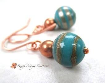 Turquoise Blue Lampwork Earrings, Copper Earrings, Sparkly Earrings, Glitter Beads, Aqua Teal, Large Dangle Earrings, Gift for Women  E484