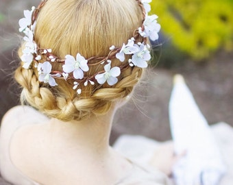white flower crown, white floral crown, cherry blossom flower crown, flower crowns for women, white flower headpiece, crown for wedding