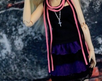 Minifee Purple and Black Ruffle Skirt - For MSD BJD - Goth Doll Clothes - MNF
