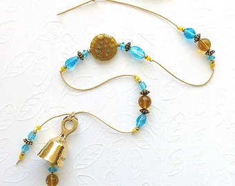 Beaded Garden Chime. Wind Chime. Large Yellow Millefiori Glass Bead. Aqua Blue. Sunny Yellow. Turquoise. Antiqued Gold. Flowers. Brass Bell