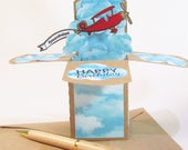 Birthday Card, Pop Up Cards, Airplane Birthday, Card For Him, Airplane with Banner Card, Gift for Pilot, Card for Dad, Gift Card Holder
