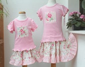 Matching Big Sister Little Sister Outfit Matching Sister Skirt & Top Set Sister Matching Outfit Pink Floral Girl's Sibling Outfit to Match