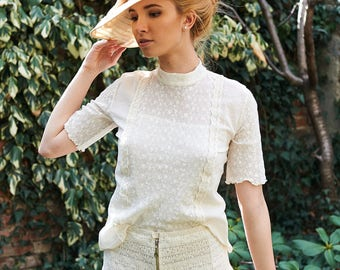 Summer Top, Women Lace Blouse, Ivory Top, Short Sleeved Blouse, Beach Top, High Neck Blouse, Sheer Top, Boho Clothing, Extravagant Top