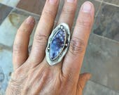 Luna Agate and Fine Silver Ring. Handmade Jewelry for Charity. RC4