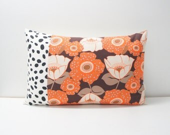 Patchwork Pillow Cover, 16x24, Dalmatian dots and retro floral