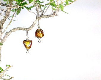 Copper colored glass earrings