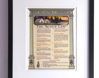 Reproduction Print of  an Original Vintage Boy Scouts of America The Scout Law The Scout Oath Poster