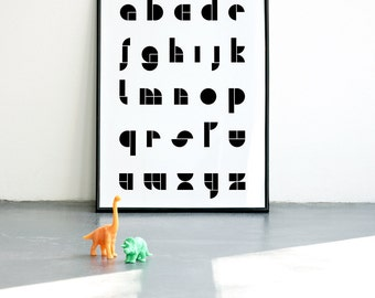 ABC Geometric Art Print, A3 or A4, Alphabet Print