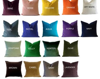 Decorative Velvet Pillow Cover -18 Color Choices- Accent Throw Pillows-Invisible Zipper Closure- Knife Or Piping Edge -16x16 to 26x26 inches