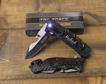2 Personalized Knives, Groomsmen gifts, Will you be my groomsman, Engraved Knife, Survival Knife, Best Man, Groomsman gift, LED Light