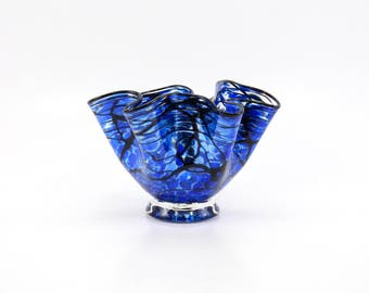 Blue Blown Glass Bowl